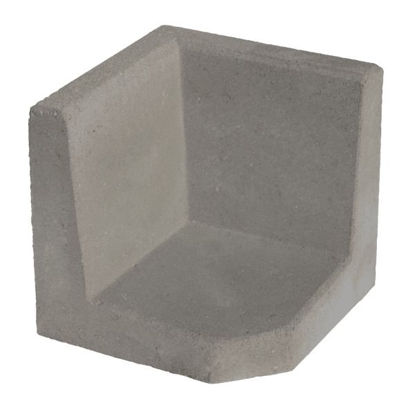 L-hoekelement 40x40x40 cm Grijs